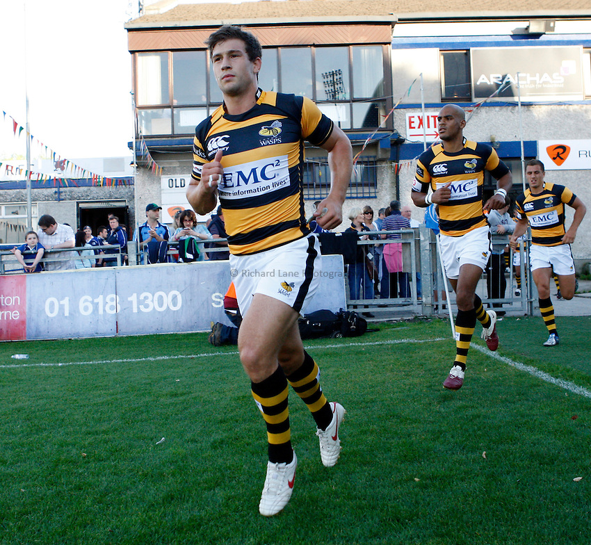 Photo: Richard Lane/Richard Lane Photography. Leinster v London Wasps. Pre Season Friendly. 20/08/2010. Wasps' Dominic Waldouck leads the team out.