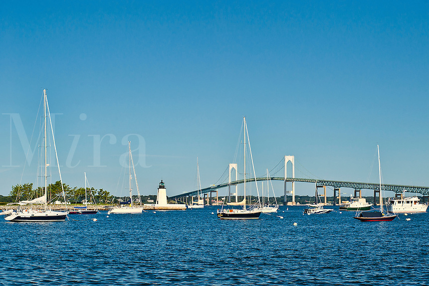 Goat Island Lighthouse and Newport harbor, RI, Rhode Island, USA