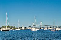 Goat Island Lighthouse and Newport harbor, RI, Rhode Island, USA