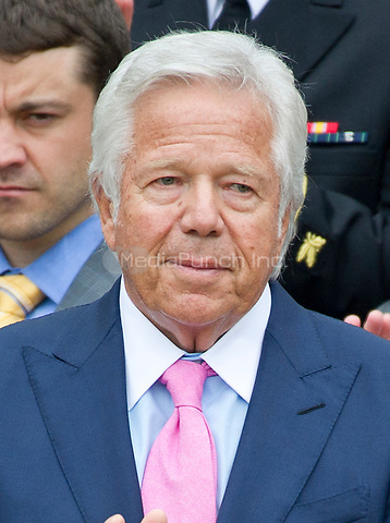 New England Patriots owner Robert Kraft listens as United States President Donald J. Trump makes remarks welcoming the Super Bowl Champions to the South Lawn of White House in Washington, DC on Wednesday, April 19, 2917.<br /> Credit: Ron Sachs / CNP/MediaPunch<br /> <br /> (RESTRICTION: NO New York or New Jersey Newspapers or newspapers within a 75 mile radius of New York City)