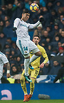 Carlos Henrique Casemiro of Real Madrid heads the ball during the La Liga 2017-18 match between Real Madrid and Villarreal CF at Santiago Bernabeu Stadium on January 13 2018 in Madrid, Spain. Photo by Diego Gonzalez / Power Sport Images