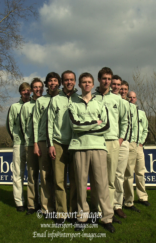 Photo. © Peter Spurrier/ Images.01/03/2004  -  Varsity Boat Race Challenge..Cambridge Blue Boat, line up for the photo call..[Mandatory Credit Peter Spurrier/ Intersport Images] Varsity: Boat race. cox. Kenelm Richardson, Nate Kirk, Wayne Pommen, Steffen Buschbacher, Andrew Shannon, Sebastian Mayer, Hugo Mallinson, Kris Coventry, Christopher Le Neve Foster