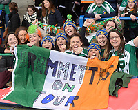 Ireland fans during the game <br /> <br /> Photographer Ian Cook/CameraSport<br /> <br /> Women's Six Nations Round 4 - Wales Women v Ireland Women - Saturday 11th March 2017 - Cardiff Arms Park - Cardiff<br /> <br /> World Copyright &copy; 2017 CameraSport. All rights reserved. 43 Linden Ave. Countesthorpe. Leicester. England. LE8 5PG - Tel: +44 (0) 116 277 4147 - admin@camerasport.com - www.camerasport.com