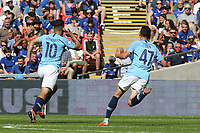 Sergio Aguero celebrates scoring Manchester City's first goal during Chelsea vs Manchester City, FA Community Shield Football at Wembley Stadium on 5th August 2018