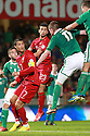 Portugal's Christiano Ronaldo is blocked by Northern Ireland's Chris Brunt and Northern Ireland's Jonathan Evans during a World Cup Qualifier in Belfast, Friday September 6th, 2013.  Photo/Paul McErlane