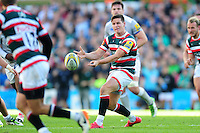 Freddie Burns of Leicester Tigers passes the ball. Aviva Premiership match, between Leicester Tigers and Bath Rugby on September 25, 2016 at Welford Road in Leicester, England. Photo by: Patrick Khachfe / Onside Images
