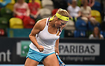 Yulia Putintseva (Kazakhstan) celebrates. Rubber 2. Great Britain v Kazakhstan. World group II play off in the BNP Paribas Fed Cup. Copper Box arena. Queen Elizabeth Olympic Park. Stratford. London. UK. 20/04/2019. ~ MANDATORY Credit Garry Bowden/Sportinpictures - NO UNAUTHORISED USE - 07837 394578