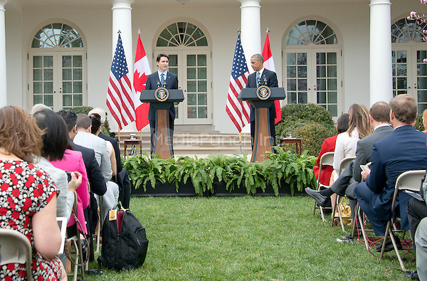 United States President Barack Obama, right, and Prime Minister Justin Trudeau of Canada, left, hold a joint press conference in the Rose Garden of the White House in Washington, DC on Thursday, March 10, 2016. <br /> Credit: Ron Sachs / CNP/MediaPunch