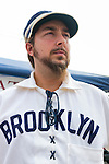 "Sept. 22, 2012 - Bellmore, New York U.S. - ANTHONY CANNINO (nickname ""TC"""") of Lynbrook, wears uniform of vintage baseball team, Brooklyn Atlantics, at the Atlantic Base Ball team of Brooklyn booth at the 26th Annual Bellmore Family Street Festival, where more people than the well over 120,000 who attended last year are expected, according to the Festival Coordinator."