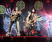 "SUNRISE FL - AUGUST 06: Gene Simmons and Paul Stanley of KISS perform during ""The End Of The Road World Tour"" at The BB&T Center on August 6, 2019 in Sunrise, Florida. Photo by Larry Marano © 2019"