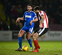 Lincoln City's Ollie Palmer has a goal ruled out by referee Ross Joyce late in the game<br /> <br /> Photographer Chris Vaughan/CameraSport<br /> <br /> The EFL Sky Bet League Two - Lincoln City v Notts County - Saturday 13th January 2018 - Sincil Bank - Lincoln<br /> <br /> World Copyright &copy; 2018 CameraSport. All rights reserved. 43 Linden Ave. Countesthorpe. Leicester. England. LE8 5PG - Tel: +44 (0) 116 277 4147 - admin@camerasport.com - www.camerasport.com