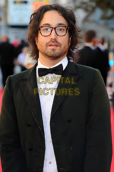 Sean Lennon.Arrivals to the UK Premiere of 'George Harrison: Living In The Material World' at BFI Southbank, London, England..October 2nd, 2011.half length black tuxedo jacket white shirt glasses beard facial hair bow tie.CAP/CJ.©Chris Joseph/Capital Pictures.