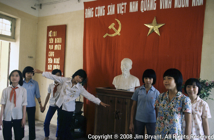 Members of the Young Pioneers sing  a hymn of praise to peace and Ho Chi Ming at the Dong Da Primary School in Hanoi, North Vietnam.  (Jim Bryant Photo).....