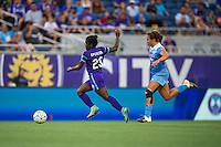 Orlando, FL - Saturday July 16, 2016: Jasmyne Spencer, Danielle Colaprico during a regular season National Women's Soccer League (NWSL) match between the Orlando Pride and the Chicago Red Stars at Camping World Stadium.