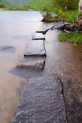 Franconia Notch State Park - Foot path along Echo Lake during the spring months in the White Mountains, New Hampshire USA