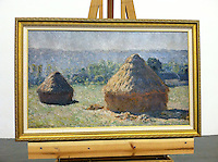 "Monet Haystacks Framed Dimensions 29 1/2 "" x 45 1/2 x 1 1/2 "", Monet, Claude (1840-1926) The Haystacks: End of Summer. Giverny. 1891."
