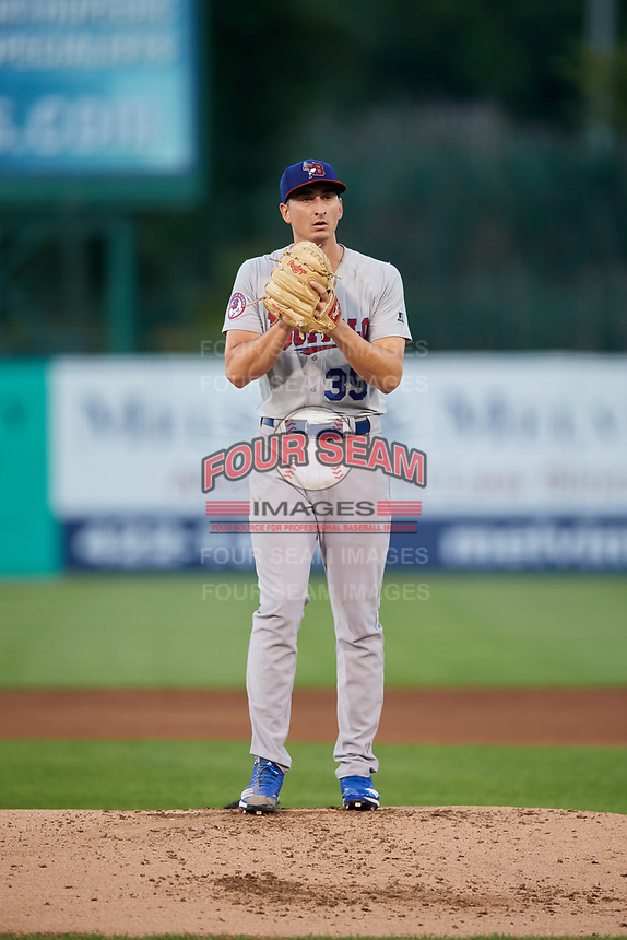 Buffalo Bisons starting pitcher Jacob Waguespack (35) gets ready to deliver a pitch during a game against the Syracuse Chiefs on September 2, 2018 at NBT Bank Stadium in Syracuse, New York.  Syracuse defeated Buffalo 4-3.  (Mike Janes/Four Seam Images)