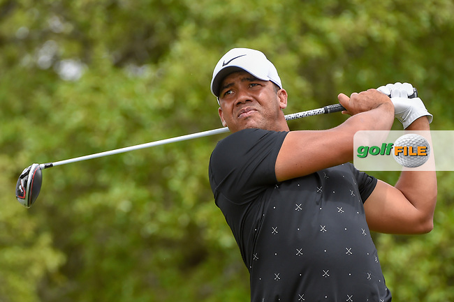 Jhonattan Vegas (VEN) watches his tee shot on 2 during day 1 of the Valero Texas Open, at the TPC San Antonio Oaks Course, San Antonio, Texas, USA. 4/4/2019.<br /> Picture: Golffile   Ken Murray<br /> <br /> <br /> All photo usage must carry mandatory copyright credit (© Golffile   Ken Murray)