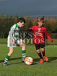 Daniel Matthews (Termofeckin) and Mark Clancy (Walshestown) at the Walshestown V Termonfeckin U9 at Walshestown All Weather.<br /> <br /> Photo - Jenny Matthews