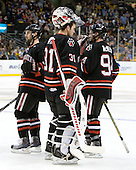 Steve Silva (Northeastern - 17), Clay Witt (Northeastern - 31), Tyler McNeely (Northeastern - 94) - The Boston College Eagles defeated the Northeastern University Huskies 5-4 in their Hockey East Semi-Final on Friday, March 18, 2011, at TD Garden in Boston, Massachusetts.