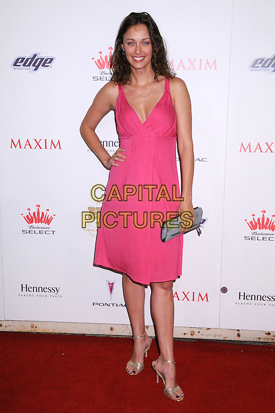 DEANNA RUSSO.Maxim's Hot 100 Party 2008 at Paramount Studios, Hollywood, California, USA, .21 May 2008..full length pink dress hand on hip.CAP/ADM/BP.©Byron Purvis/Admedia/Capital PIctures