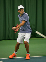Rotterdam, The Netherlands, 15.03.2014. NOJK 14 and 18 years ,National Indoor Juniors Championships of 2014, Yannick Verwater (NED)<br /> Photo:Tennisimages/Henk Koster