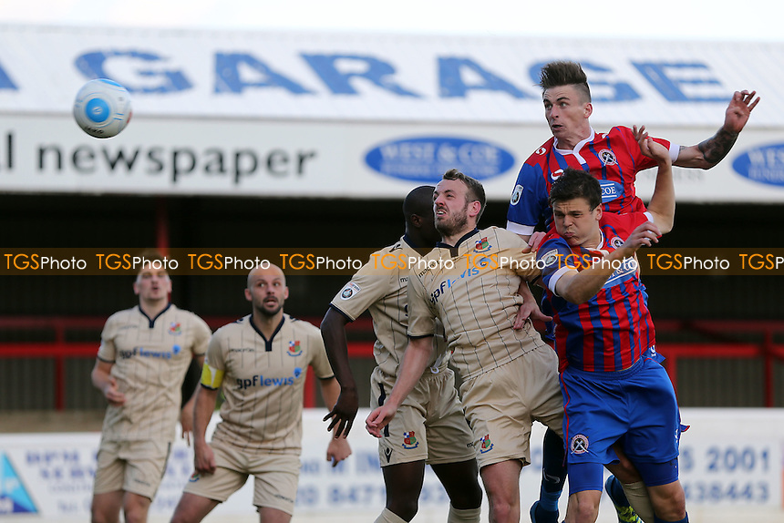 Oliver Hawkins of Dagenham scores the second goal with a header during Dagenham & Redbridge vs Wealdstone , Emirates FA Cup 4th Qualifying Round Football at the Chigwell Construction Stadium on 15th October 2016