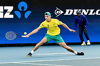 9th January 2020; Sydney Olympic Park Tennis Centre, Sydney, New South Wales, Australia; ATP Cup Australia, Sydney, Day 7; Great Britain versus Australia; Alex de Minaur of Australia versus Daniel Evans of Great Britain; Alex de Minaur of Australia reaches for a return against Daniel Evans of Great Britain  - Editorial Use