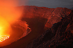Nyiragongo Volcano, Democratic Republic of Congo, showing a lava lake in the summit crater and caldera glowing at night, 2011.