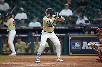 Philip Clarke (5) of the Vanderbilt Commodores at bat against the Houston Cougars during game nine of the 2018 Shriners Hospitals for Children College Classic at Minute Maid Park on March 3, 2018 in Houston, Texas. The Commodores defeated the Cougars 9-4. (Brian Westerholt/Four Seam Images)