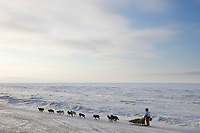 Musher Ramy Brooks heads out along the ice just outside of Nome during the 2008 All Alaska Sweepstakes 100 year commemorative sled dog race.