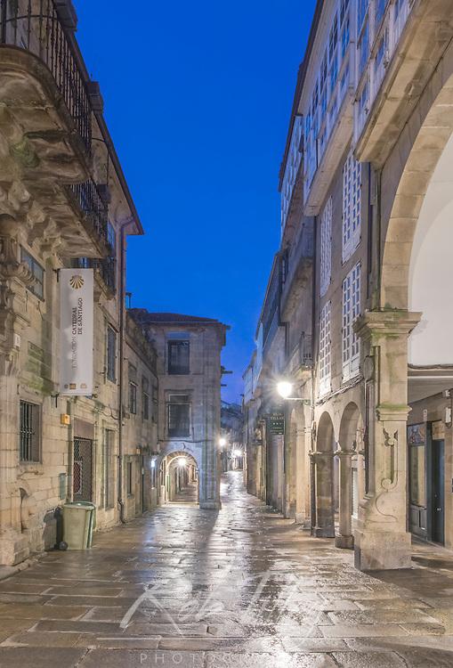 Spain, Satiago de Compostela, Rua do Vialr