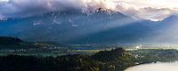 Julian Alps and Lake Bled Castle at sunrise, Bled, Julian Alps, Gorenjska, Upper Carniola Region, Slovenia, Europe