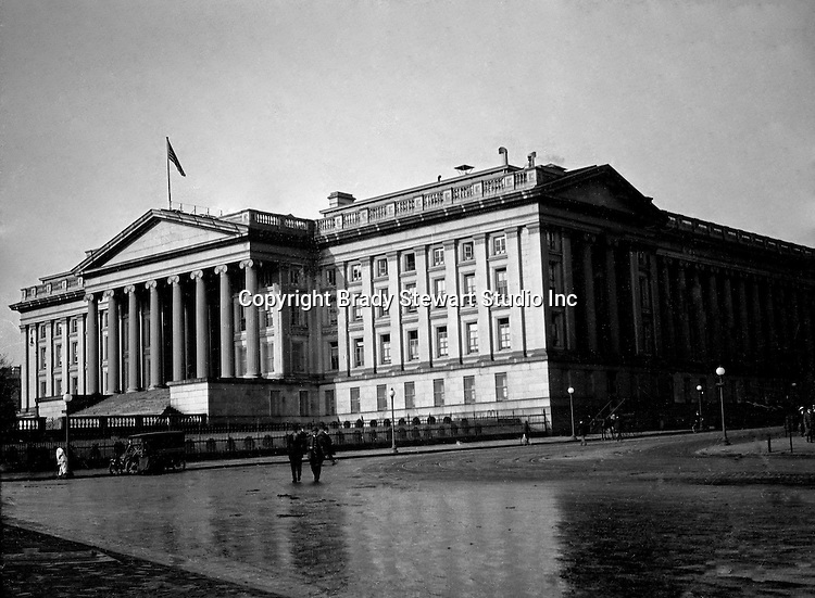 Washington DC: The United States Treasury Building  - 1912.  Brady Stewart took this photograph at the same angle as the back of an old $10.00 bill. Brady and Sarah Stewart sightseeing in Washington DC while on their honeymoon.