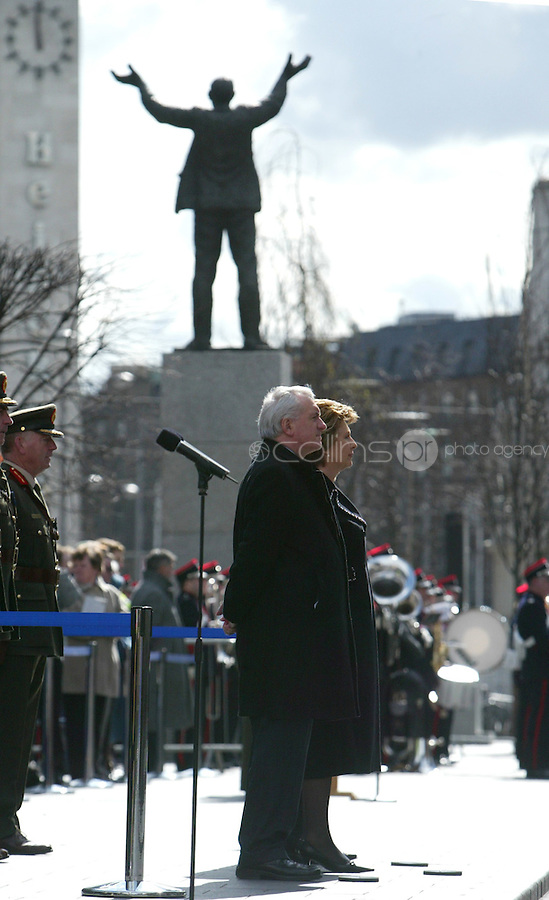 23/03/2008.An Taoiseach Bertie Ahern TD & President of Ireland Mary McAleese during a ceremony  marking  the 92nd Anniversary of the 1916 Easter Rising outside the GPO, O'Connell Street, Dublin..Photo: Gareth Chaney Collins