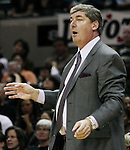 Detroit head coach Bill Laimbeer yells to his players during Game 2 of the WNBA Finals between the Detroit Shock and the San Antonio Silver Stars, Oct. 3, 2008, at the AT&T Center in San Antonio. Detroit won 69 - 61 to go up 2 - 0 in the best-of-five series. (Darren Abate/pressphotointl.com)