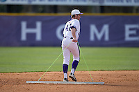 Grey Lyttle (42) of the High Point Panthers drags the infield between innings of the game against the NJIT Highlanders during game one of a double-header at Williard Stadium on February 18, 2017 in High Point, North Carolina.  The Panthers defeated the Highlanders 11-0.  (Brian Westerholt/Four Seam Images)