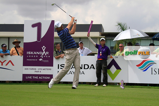 Padraig Harrington (IRL) tees off on the 1st tee to start his match during Saturday's storm delayed  Round 3 of the Iskandar Johor Open 2011 at the Horizon Hills Golf Resort Johor, Malaysia, 19th November 2011 (Photo Eoin Clarke/www.golffile.ie)