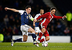 Scott Brown of Scotland challenges Thomas Delaney of Denmark during the Vauxhall International Challenge Match match at Hampden Park Stadium. Photo credit should read: Simon Bellis/Sportimage