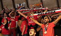 20191012 - HALLE: Benfica's supporters are pictured during the UEFA Futsal Champions League Main Round match between FP Halle-Gooik (BEL) and SL Benfica (POR) on 12th October 2019 at De Bres Sportcomplex, Halle, Belgium. PHOTO SPORTPIX | SEVIL OKTEM