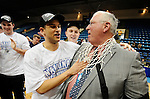 19 MAR 2011: Teddy Archer (5) of St. Thomas enjoys cutting the nets with his coach Steve Fritz after winning the Division III Men's Basketball Championship held at the Salem Civic Center in Salem, VA.  The University of St. Thomas (Minnesota) defeated College of Wooster 78-54 to win the national title.  Andres Alonso/NCAA Photos