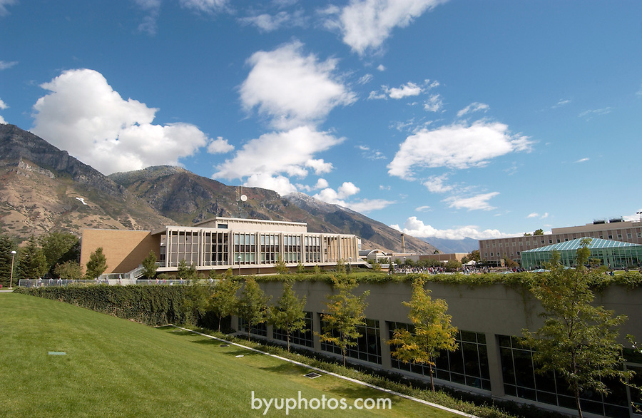 September General Campus Scenics (GCS).Sep 2004..Photo by Mark Philbrick/BYU.Harris Fine Arts Center (HFAC) in the background with the Hearld B. Lee Library (HBLL) windows in the foreground.