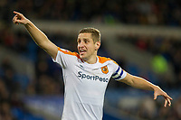 Michael Dawson of Hull City organises his defence for a corner during the Sky Bet Championship match between Cardiff City and Hull City at the Cardiff City Stadium, Cardiff, Wales on 16 December 2017. Photo by Mark  Hawkins / PRiME Media Images.
