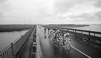 A seven-rider breakaway was formed after 15km of racing riding across the Po River. They built a lead of more than 10 minutes but once they hit the coast their lead and their numbers started to diminish.<br /> <br /> riders: Matteo Bono (ITA/Lampre Merida), Nathan Haas (AUS/Garmin-Sharp), Nicola Boem (ITA/Bardiani), Antonio Parrinello (ITA/Androni Giocattoli), Maarten Tjallingii (NDL/Belkin), Jan Barta (CZE/Netapp-Endura) and Marc de Maar (NLD/UnitedHealthCare)<br /> <br /> 2014 Milano - San Remo