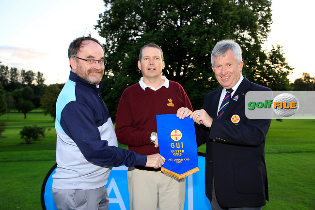 Dermot Rollins (AIG and John White Ulster Golf present the pennant to Malone Team Captain  after the AIG Junipr Cup Ulster Fianl, Lisburn Golf Club, Lisburn, Down, Northern Ireland. 31/08/2019.<br /> Picture Fran Caffrey / Golffile.ie<br /> <br /> All photo usage must carry mandatory copyright credit (© Golffile | Fran Caffrey)