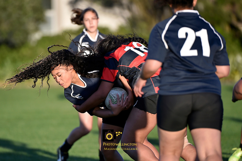 Action from the Girls College Rugby - Sacred Heart College v St Catherine's College at Petone Rec, Lower Hutt, New Zealand on Thursday 30 April 2015. <br /> Photo by Masanori Udagawa. <br /> www.photowellington.photoshelter.com.