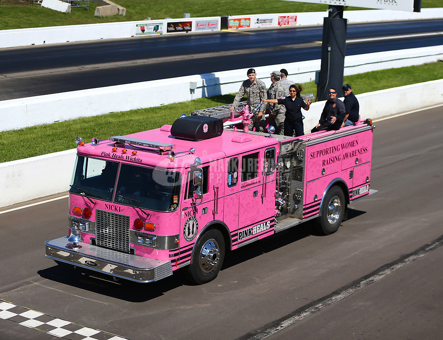 May 21, 2017; Topeka, KS, USA; A pink firetruck during the NHRA Heartland Nationals at Heartland Park Topeka. Mandatory Credit: Mark J. Rebilas-USA TODAY Sports