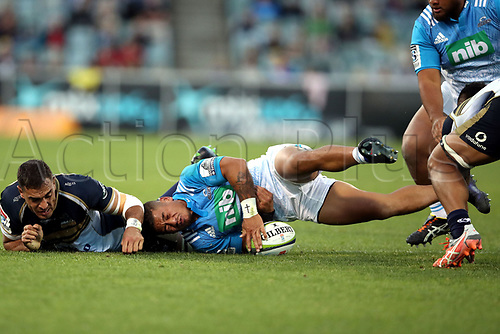 April 30th 2017,Canberra, Australia; Super Rugby Match; Brumbies versus Blues; Agustine Pulu tackled by Rory Arnold