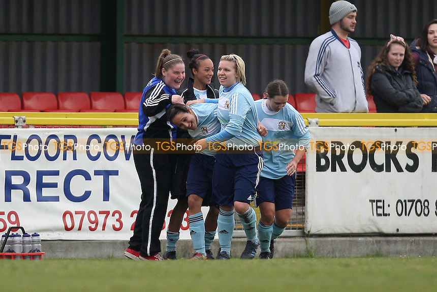 Coventry celebrate their last winning goal - West Ham United Ladies vs Coventry City Ladies - FA Womens Premier League Cup Quarter-Final at Ship Lane, Thurrock FC - 08/04/12 - MANDATORY CREDIT: Gavin Ellis/TGSPHOTO - Self billing applies where appropriate - 0845 094 6026 - contact@tgsphoto.co.uk - NO UNPAID USE.