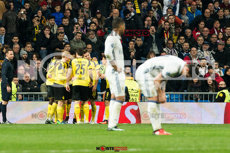 Borussia Dortmund Ousmane Cembele, Pierre Aubameyang, Sokratis Papastathoppulos, Real Madrid's Carlos Henrique Casemiro  during Champions League match between Real Madrid and Borussia Dortmund  at Santiago Bernabeu Stadium in Madrid , Spain. December 07, 2016. (ALTERPHOTOS/Rodrigo Jimenez) /NortePhoto.com